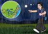 Boy walking in rain