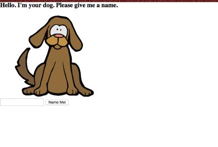 Dog in left corner of white screen