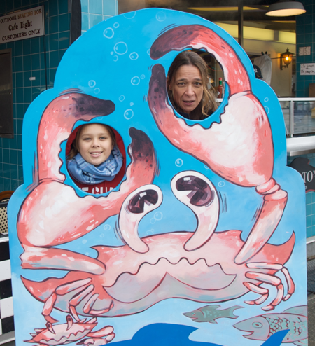 AnnMaria and her daughter as crabs