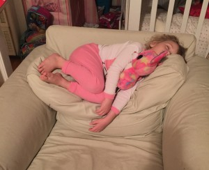 The same 4-year-old who didn't want to get up refused to get in her bed last night as she