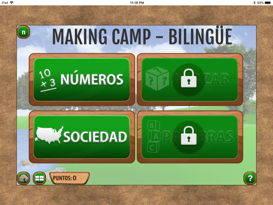 Choice screen with option of números and sociedad