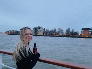 Julia in a boat on the Thames River