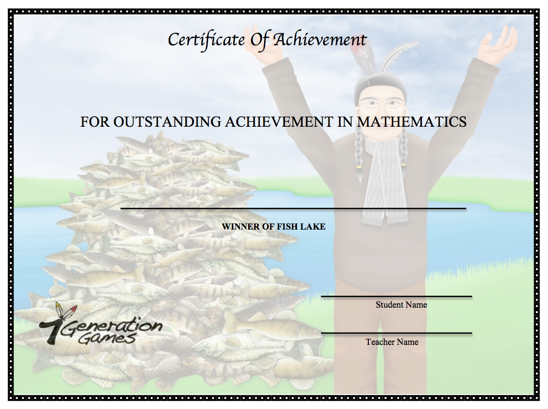 Fish Lake Certificate of Achievement