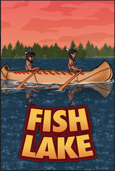 Fish Lake logo - two Ojibwe men in a canoe