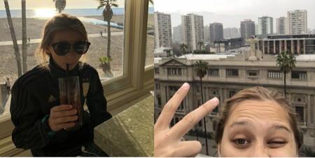 Eva in sunglasses and half of Julia's head