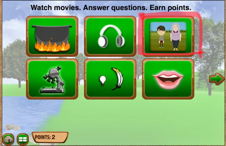 Choices screen from Making Camp Premium - Watch movies. Answer questions. Earn points.